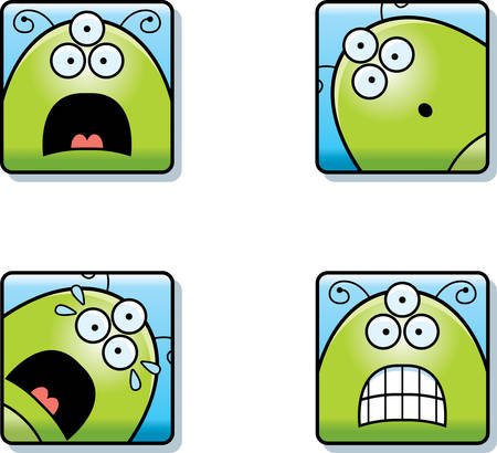A cartoon icon set of an alien with scared expressions.