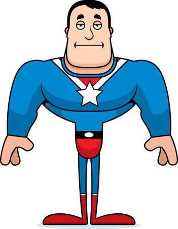 A cartoon superhero looking bored.