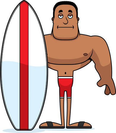 A cartoon surfer looking bored. Stock Vector - 101980302
