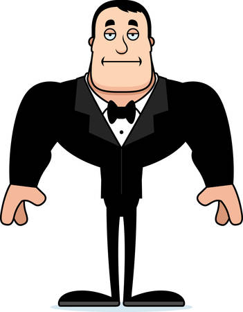 A cartoon groom looking bored.