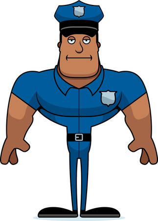A cartoon police officer looking bored.