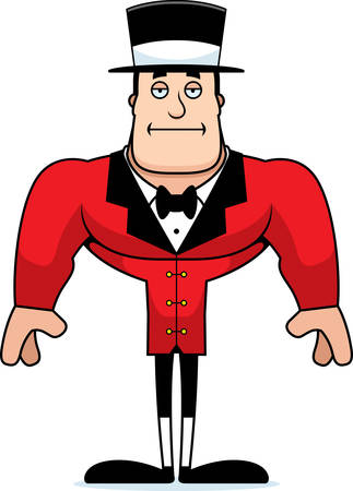 A cartoon ringmaster looking bored.