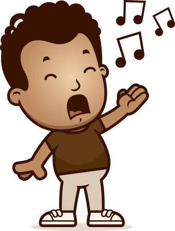 A cartoon illustration of a boy singing. Illustration