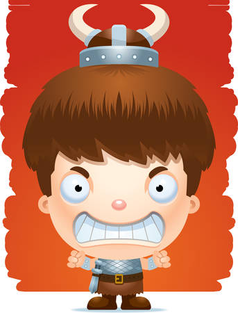 A cartoon illustration of a boy barbarian with an angry expression.