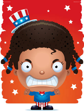A cartoon illustration of a patriotic girl looking angry.