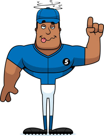 A cartoon baseball player looking drunk. Stock Vector - 101915038