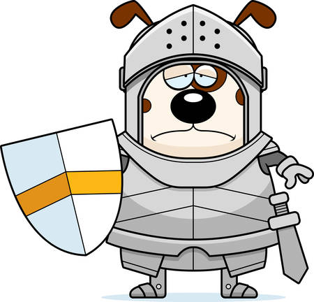 A cartoon illustration of a dog knight looking sad.
