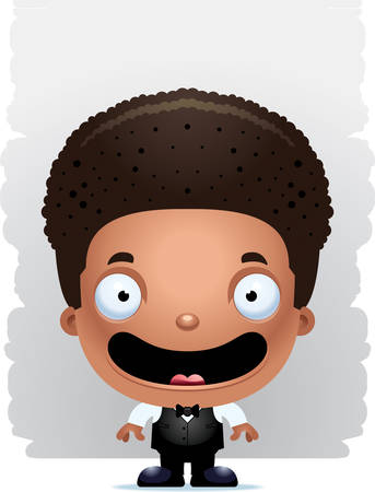 A cartoon illustration of a boy waiter smiling. Ilustração