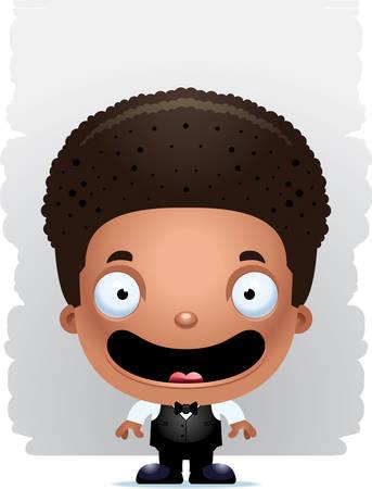 A cartoon illustration of a boy waiter smiling. Illustration
