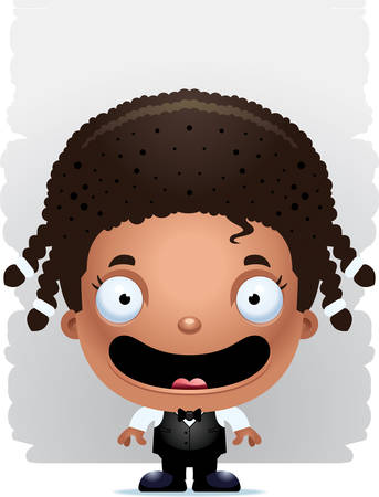 A cartoon illustration of a girl waiter smiling. Иллюстрация