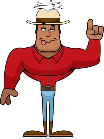 A cartoon cowboy looking drunk. Stock Vector - 101915120