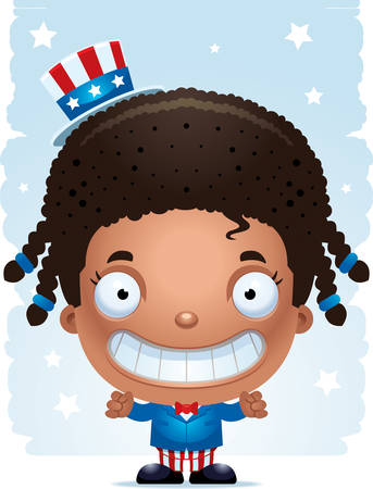 A cartoon illustration of a patriotic girl standing and smiling. Иллюстрация