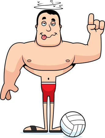 A cartoon beach volleyball player looking drunk.