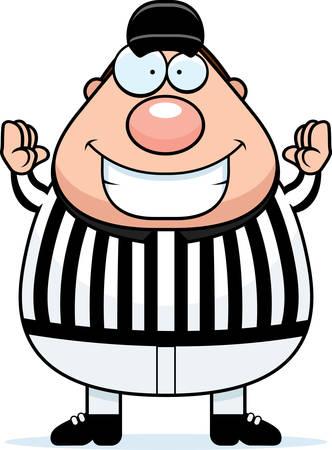 A cartoon illustration of a referee signaling a touchdown. Ilustração
