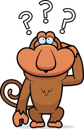 A cartoon illustration of a stupid proboscis monkey. Фото со стока - 101915332
