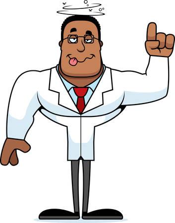 A cartoon scientist looking drunk. Illusztráció