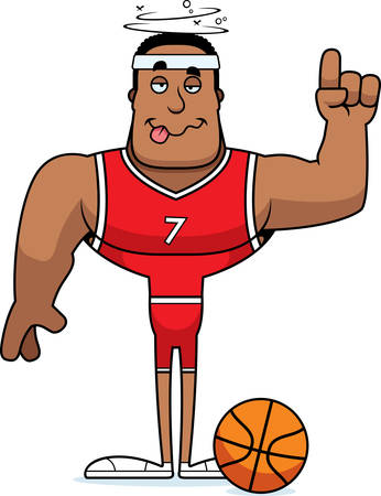 A cartoon basketball player looking drunk. Illustration