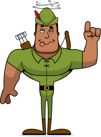 A cartoon Robin Hood looking drunk.