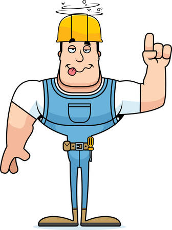 A cartoon construction worker looking drunk. Stock Illustratie