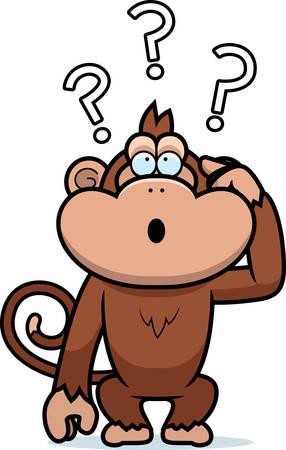 Una ilustración de dibujos animados de un mono estúpido.