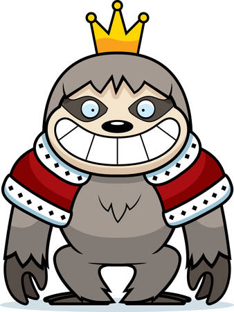A cartoon illustration of a sloth king with a crown and robes.