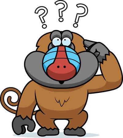 A cartoon illustration of a stupid baboon. Ilustração