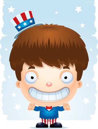 A happy cartoon boy in a patriotic costume standing and smiling.