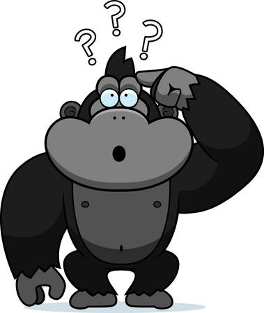A cartoon illustration of a stupid gorilla.