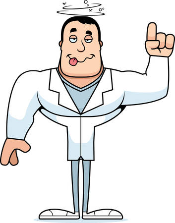 A cartoon doctor looking drunk.