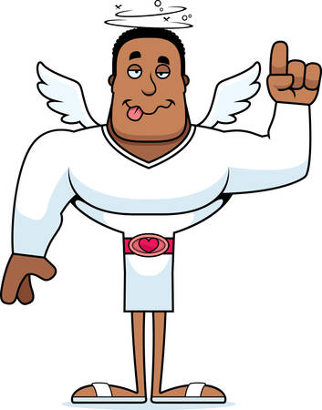 A cartoon cupid looking drunk.