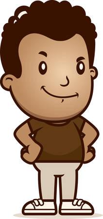 A cartoon illustration of a boy looking confident.