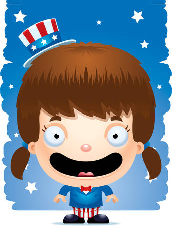 A cartoon illustration of a patriotic girl standing and smiling. Illustration