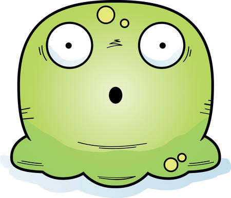 A cartoon illustration of a booger looking surprised.
