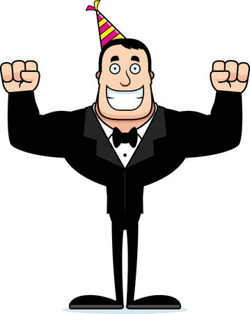 A cartoon partygoer smiling. Ilustrace