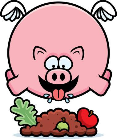 A cartoon illustration of a pig eating.