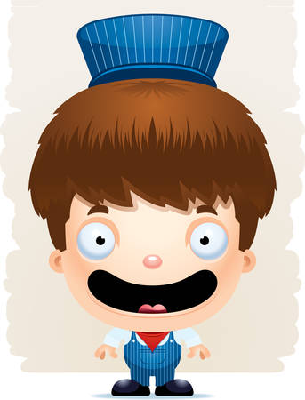A cartoon illustration of a boy train conductor smiling. Standard-Bild - 102083067