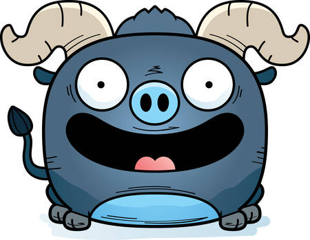 A cartoon illustration of a little blue ox happy and smiling. Illustration