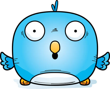 A cartoon illustration of a bluebird looking surprised.