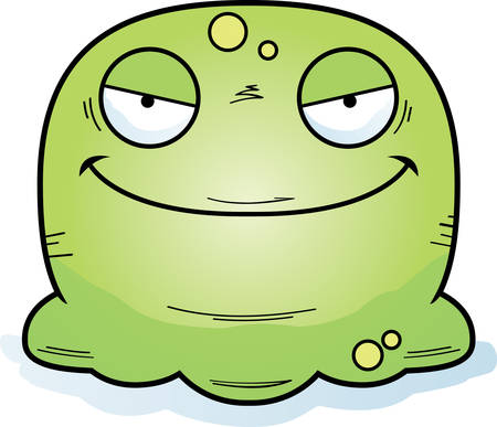A cartoon illustration of an evil looking booger.