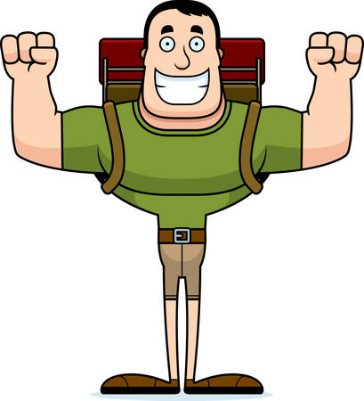 A cartoon hiker smiling. Illustration