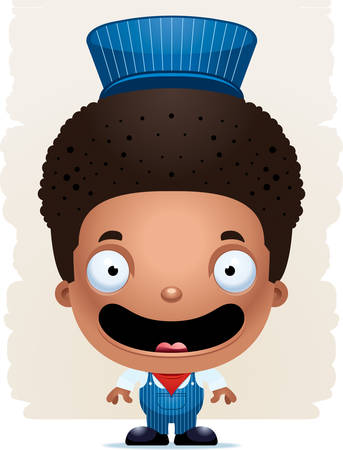 A cartoon illustration of a boy train conductor smiling. Standard-Bild - 102083248