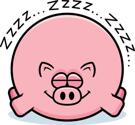 A cartoon illustration of a pig sleeping. Banque d'images - 102083300