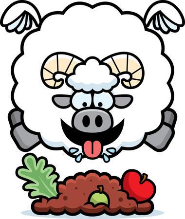 A cartoon illustration of a ram eating.