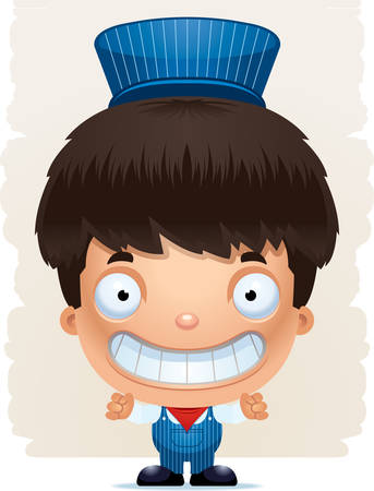 A cartoon illustration of a boy train conductor smiling. Standard-Bild - 101915737
