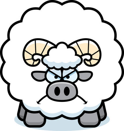 A cartoon illustration of a ram looking angry.