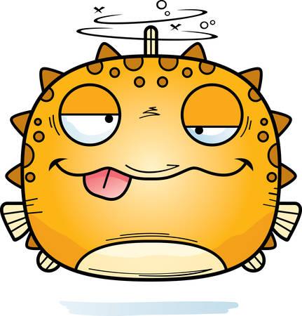 A cartoon illustration of a blowfish looking drunk.