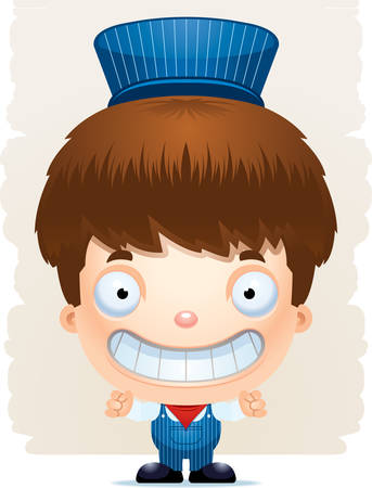A cartoon illustration of a boy train conductor smiling. Illustration