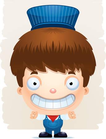 A cartoon illustration of a boy train conductor smiling. Illustration