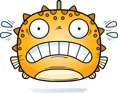 A cartoon illustration of a blowfish looking scared.