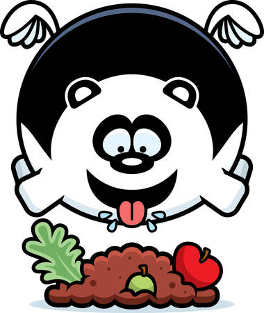 A cartoon illustration of a panda eating.